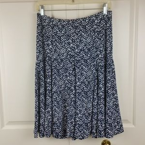 Chaps Navy Blue White Abstract Print Skirt S EUC